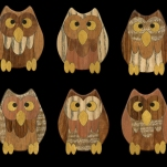 """Give A Hoot"" owl intarsia 2017. 2.5 x 3"" - Mahogany, Ash, Goncalo Alves, Mango, Thuya Burl, Lyptus, Yellowheart, and Ebony."