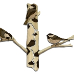 "Chickadee-three; three-piece wall hanging, friendship style (three individual pieces make up a whole image). 2012. Left 25 pieces, Center 19 pieces, Right 25 pieces, ~18 x 11"" Birch, Aspen, Walnut, Bocote, Wenge, Cherry, Maple"