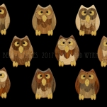 """Give A Hoot"" owl intarsia 2017. Maple, Acacia, Cocobolo, Butternut, Mahogany, Chechen, Sindora Burl, Walnut, Eucalyptus, Yellowheart, Ebony"