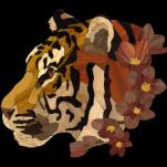 "Sakura Tiger intarsia. 2016. 131 pieces, 7.5"" x 7"" Yellowheart, Orangewood, Chakta Viga, Lyptus, Maple, Aspen, Birch, Walnut, Wenge, Cherry, Tulipwood, Ebony, Macacauba, Bloodwood, and Goncalo Alves."