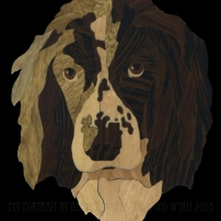 Spaniel Pet Memorial. 2016. Ebony, Wenge, Black Limba, Aspen, Birch, Blue Pine, Chechen.