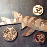"Bamboo Shark, 2017, 22"" long. Leopardwood, Lacewood, Aspen, Cherry, Walnut."