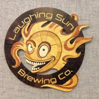 2017 Laughing Sun Logo, gift for 5th anniversary. Aspen, Wenge, Yellowheart, Redheart, Osage Orange.