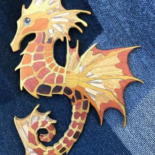 Seahorse Dragon, 2019. Yellowheart, Osage Orangewood, Ash, Mahogany, Pernumbuco, Bloodwood, Camatillo, Abalone, Ebony, Birch