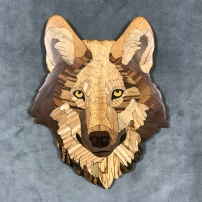 Wolf, v2 color, 2019. mahogany, spalted maple, walnut, hickory, black walnut, goncalo alves, marblewood, olivewood, bocote, ebony, ipe, chestnut, yellowheart.